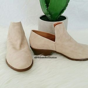 Shoes - Soft Faux Leather Booties - Stone